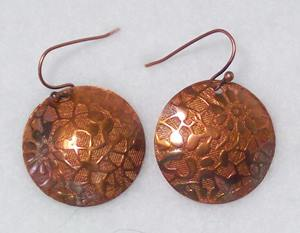 "Embossed and Flame ""Painted"" Earrings, 1"""
