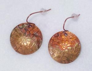 "Embossed and Flame ""Painted"" Earrings, 7/8"""