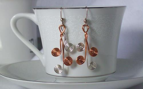 In Love with Spirals, Earrings in Silver and Copper