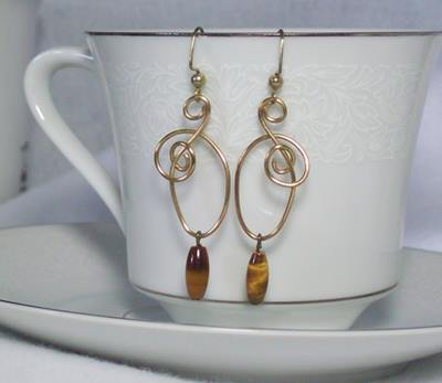 Tiger's Eye Dangles From Free Form