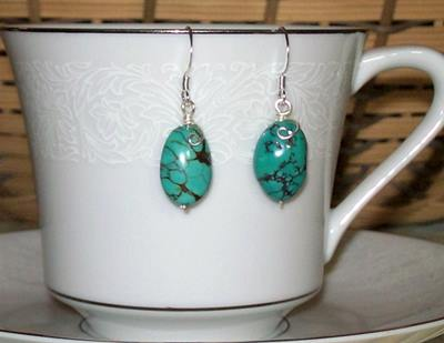 Just a little curl, Turquoise Earrings