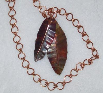 """Fire-Painted"" Leaves Necklace"