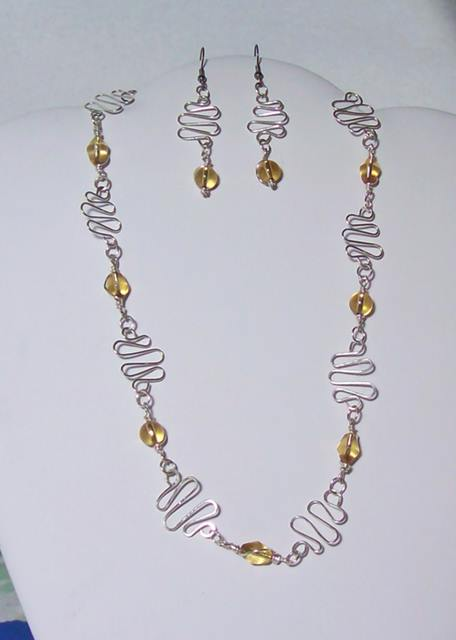Squiggles 'n Beads Necklace and Earrings Set