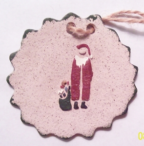 Santa With Bag Large Stoneware Disk